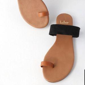 3cf2267c8 Lulu s Shoes - Lulus Cognac Napa   Black Suede Flat Sandals NWT